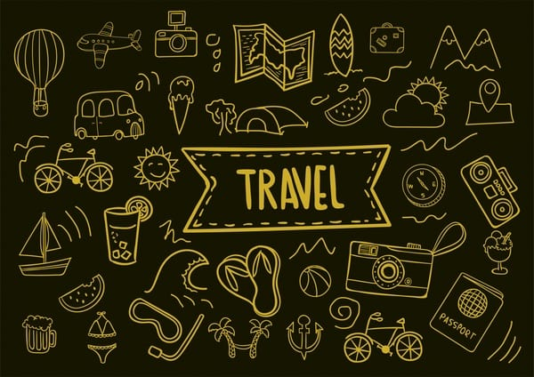 travel icons collection hand drawn dark background style 6826199