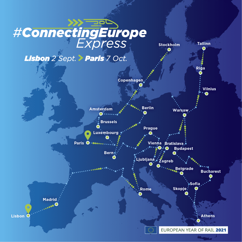connecting europe express map capitals